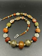 Ancient Cultural Jewelry Antique Agate Amber Brass Crystals Glass Bead