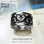 Ornaments Band Ring With Black Hearts Zircon Vintage Jewerly 925 Sterling Silver