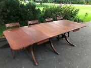 1930s Antique Duncan Phyfe Table And Chair Set Mahoganyandnbsp