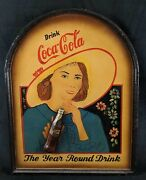 Vintage Hand Painted Wooden Coca Cola Store Sign