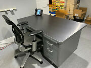 Mcdowell-craig Office Furniture With Stainless Top / Desk And Credenza