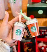 Starbucks Ornaments 2020 Holiday Pink Red Cups Glitter Ceramic Venti Sold Out