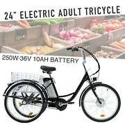 24 Adult Electric Trike Tricycle 250w F36v 10ah Lithium Battery W/basket