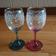 Hello Kitty Classic Pair Wine Glasses Blue And Pink Vintage 2001 Sanrio Character