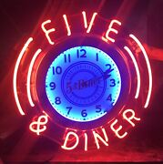 New Five And Diner Neon Clock Sign In Steel Can American Made 50andrsquos Retro Burger