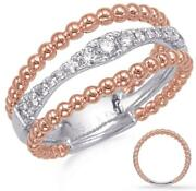 Estate Wide .33ct Diamond 14kt White And Rose Gold 3d 3 Row Bamboo Beaded Fun Ring