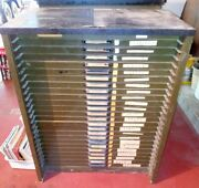 Hamilton Mfg Co Industrial Composing Room Table With 24 Drawers Filled W/letters