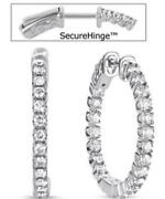 Estate 1.32ct Diamond 14kt White Gold 3d Round Inside Out Hoop Hanging Earrings