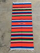 Mexican Saltillo Central Diamond Card Table Cover Woven Wool Colorful Stripe Vtg