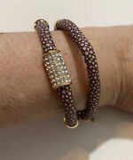 18k Gold Plated Brown Faux Leather Crystals Bracelet Boutique Small
