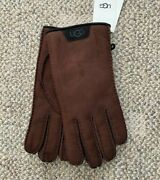 Ugg Menand039s Sheepskin Gloves With Leather Trim Chocolate Brown Size Medium 17392