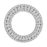 1.30ct Diamond 14kt White Gold 3d Classic 3 Row Circle Of Life Floating Pendant
