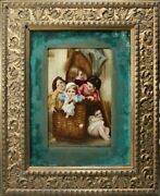 Framed 19c Hand Painted Porcelain Plaque Of Five Children In A Wicker Basket