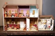 Antique Doll House Handmade Wood Double Sided With Vintage Furniture And Dolls