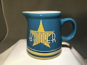 Butter Pitcher Popcorn Movies Porcelain Blue Yellow 3 1/2 Tall Microwave Safe