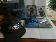 Xbox 360 Lot Call Of Duty Ghost Hardened Black Ops World At War Warfare 3 + Hat