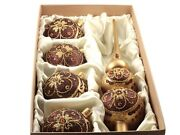 Set 5 Czech Blown Glass Christmas Tree Ornaments Baubles And Topper Gold Red