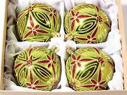 Set 4 Large Czech Blown Glass Gold Red Green Christmas Tree Baubles Ornaments