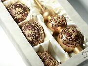 Set 5 Czech Blown Glass Christmas Tree Ornaments Baubles And Topper Gold
