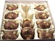 Set 9 Czech Blown Glass Christmas Tree Baubles Ornaments And Topper Gold Red