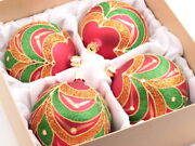 Set 4 Large Czech Hand Blown Glass Christmas Tree Baubles Ornaments Red Green