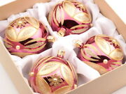 Set 4 Large Czech Hand Blown Glass Christmas Tree Baubles Ornaments Pink