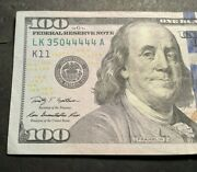 2009 A 100 Dollar Bill Fancy Serial Number 35044444 Free Shipping
