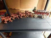 Vintage Cast Iron Horse Drawn Beer Wagon 2 Green Drivers 8 Clydesdale 9 Barrel