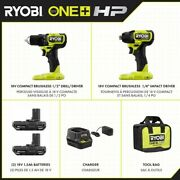 Ryobi One+ Hp 18v Brushless Cordless Compact 1/2 -inch Drill And Impact Driver Kit