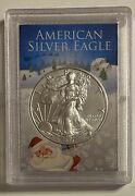 Santa Claus And Snow Scene - 2021 Type-1 Silver Eagle In Custom Frosty Case
