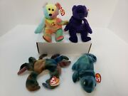Rare Ty Beanie Baby Lot Of 4 Retired Princess, Claude, Rainbow, And Peace