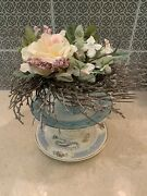 Vintage China Jewelry Holder Shabby Chic Easter Roses Saucer Cup Wedding Favor