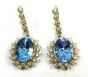 Natural Oval Blue Topaz And Diamond Drop Snap Earrings 14k Yellow Gold 19.78ct