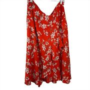 Calvin Klein Skirts Size 20 W Red White Floral Flare Womens Frilly Casual