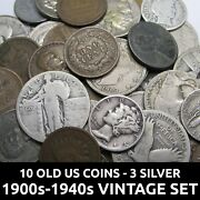 10 Old Us Coins Collection - Silver Quarter And Dimes Old Nickels And Pennies Lot