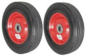 2pc 8 Replacement Solid Rubber Tire And Steel Wheel For Dolly Hand Truck Cart