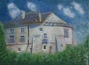 Building Architecture Painting Adobe Residence Castle House Home Handpainted Art