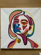 Basquiat Style Hand Painted Abstract Woman Picasso Oil Painting Girl Art Love