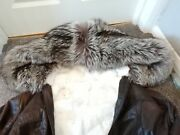 Awesome Silver Fox Hooded Reversible Rex Rabbit And Leather Coat / Jacket
