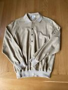 Authentic Light Camel Color Suede Leather Collar Shirt Size 50 Rare