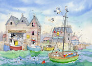Smelly Whitstable A Ready To Frame Print From A Watercolour By David Bailey