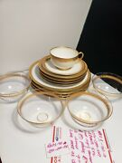 Antique Limoges White Tea Cup With Gold Rim And Saucerand More