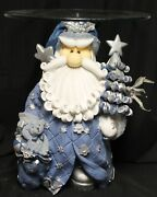 Whimsical Blue Santa Accent Glass Top Table Silver/white Christmas Tree Bird 2ft