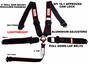 5 Point Racing Harness Sfi 16.1 Cam Lock Black And Red Lightweight Black Hardware
