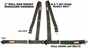 Racerdirect Military Green 4 Point Seat Belt Harness Pull Down Roll Bar Mount