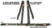 Off Road 4 Point Seat Belt Harness Pull Down Belts Roll Bar Mount Military Green