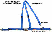 3 Point Seat Belt Race Harness 2 Latch And Link Pull Up Laps Floor Mount Blue