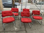 5 Cantilever Armchairs Chrome Lounge Side Chairs Vintage Mid Century