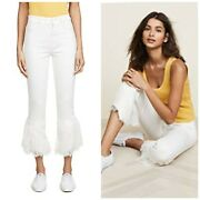 Nwt Paige Womenand039s Hoxton Straight Ankle Jeans Poodle White Lace Ruffle Size 30