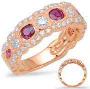 1.36ct Diamond And Aaa Ruby 14kt Rose Gold Oval And Round Filigree Anniversary Ring